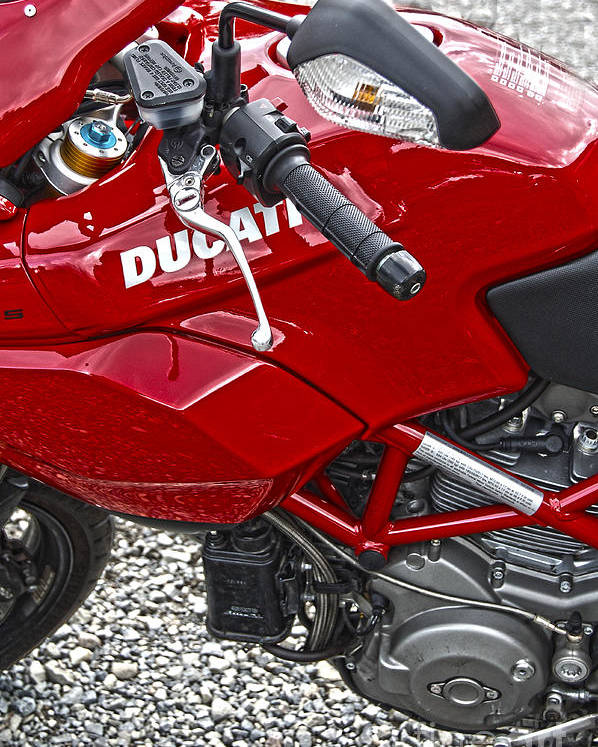 Diane Berry Poster featuring the photograph Ducati Red by Diane E Berry