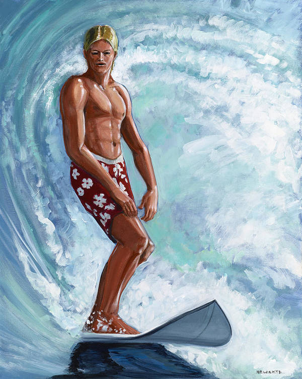 Surfer Poster featuring the painting Dude by Hank Wilhite