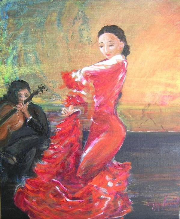 Gypsy Flamenco Dancer. Spanish Dancer Poster featuring the painting Duende by Lizzy Forrester