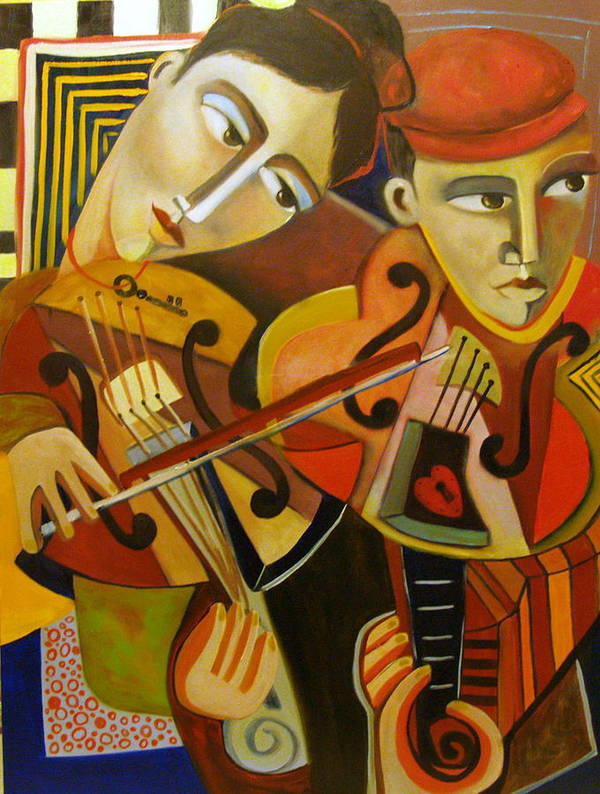 Music Violins Romance Man Woman Poster featuring the painting Duo Romantico by Niki Sands