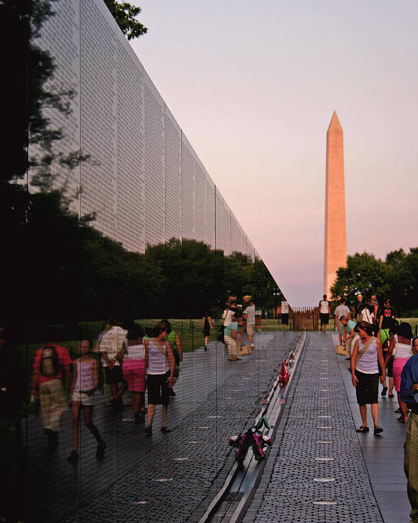 Viet Nam Veterans Memorial Poster featuring the photograph Dusk At The Viet Nam Veterans Memorial by Brian M Lumley