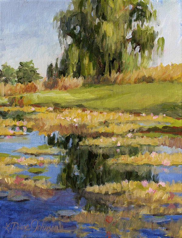 Pond Of Water Lilies Poster featuring the painting Dusk Over The Pond by L Diane Johnson