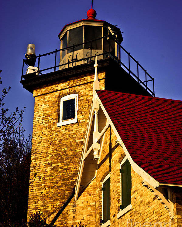 Door County Poster featuring the photograph Eagle Bluff Lighthouse Of Door County by Mark David Zahn