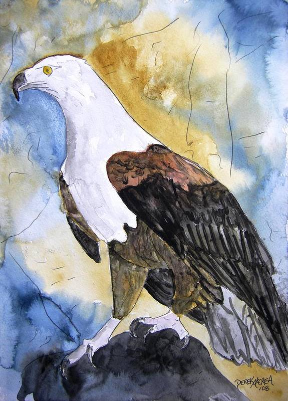 Realistic Poster featuring the painting Eagle by Derek Mccrea