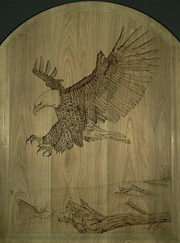 Eagle Poster featuring the pyrography Eagle Door Panel by Angel Abbs-Portice