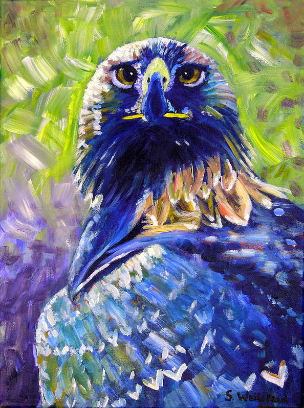 Art Poster featuring the painting Eagle On Alert by Shirley Wellstead