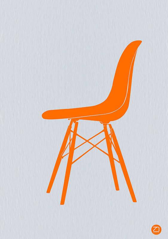Eames Chair Poster featuring the digital art Eames Fiberglass Chair Orange by Naxart Studio