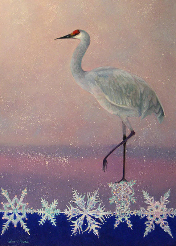 Snowflake Poster featuring the painting Early Arrival by Valerie Aune
