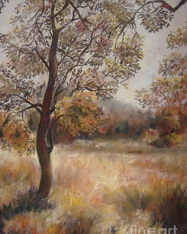 Landscape Poster featuring the painting Early Autumn by Julianna Ziegler