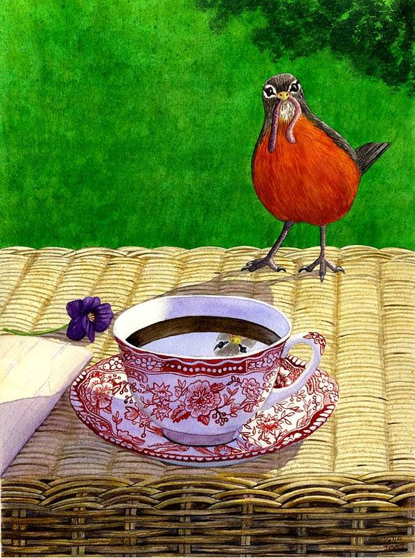Robin Poster featuring the painting Early Bird by Catherine G McElroy