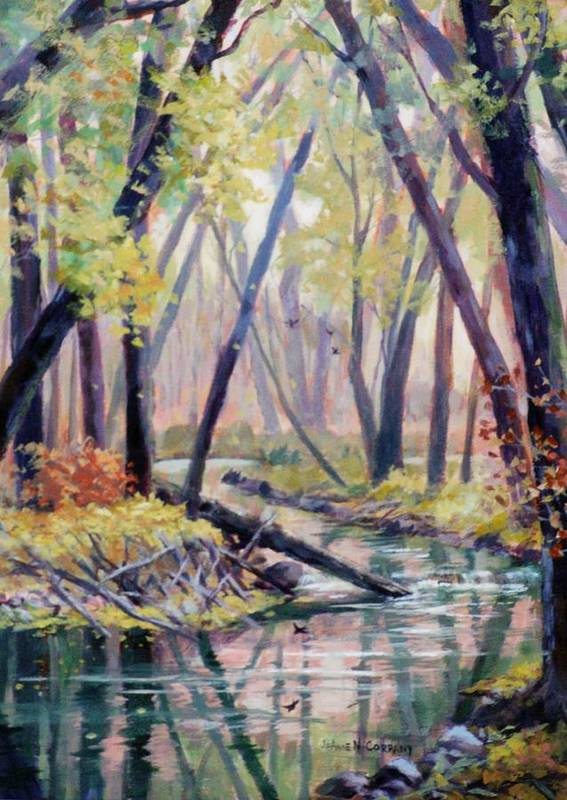 Creek Poster featuring the painting Early Fall On East Canyon Creek by JoAnne Corpany