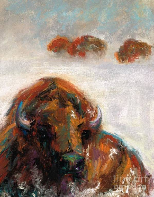 Buffalo Poster featuring the painting Early Morning Snow by Frances Marino