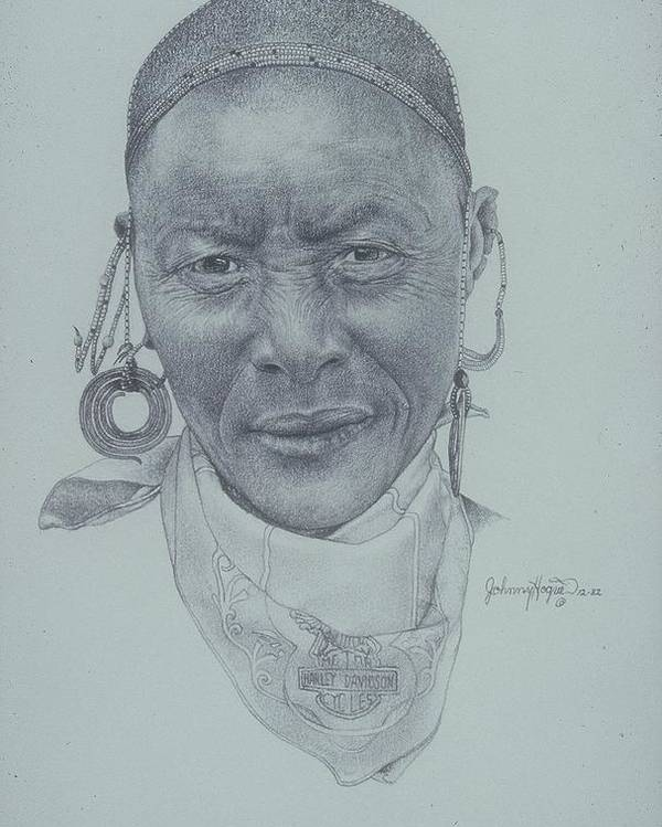 Poster featuring the painting Earrings And Bandana by Mahto Hogue