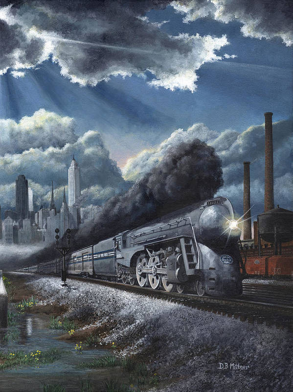 Train Poster featuring the painting Eastbound Twentieth Century Limited by David Mittner