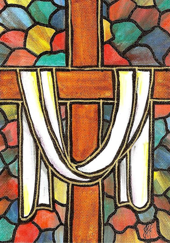 Easter Poster featuring the painting Easter Cross 6 by Jim Harris