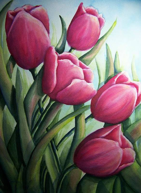 Easter Poster featuring the painting Easter Tulips by Conni Reinecke