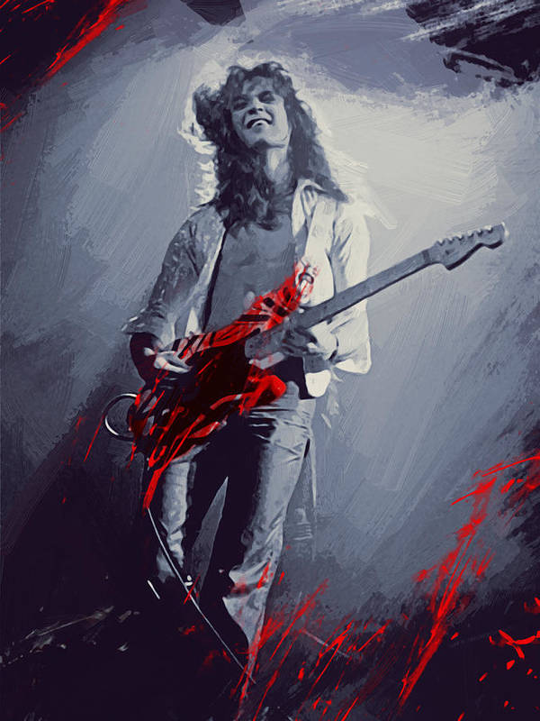 Eddie Van Halen Poster featuring the digital art Eddie Van Halen by Afterdarkness