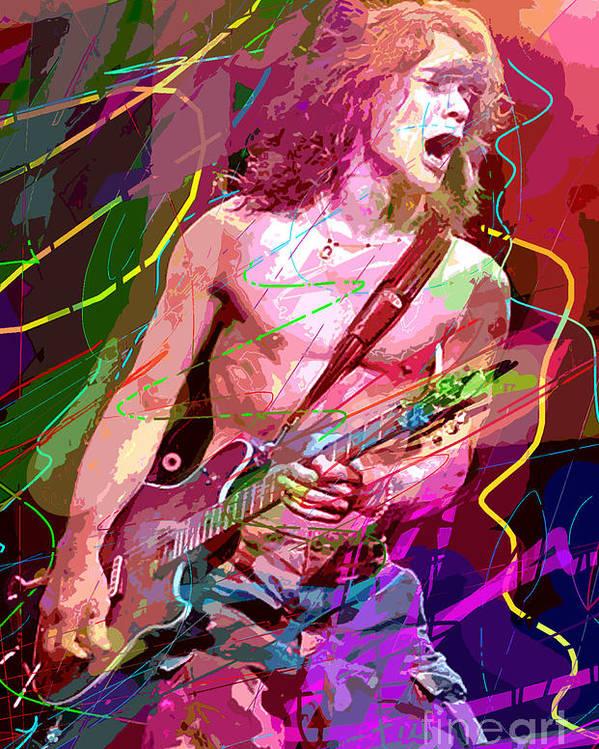 Eddie Van Halen Poster featuring the painting Eddie Van Halen Jump by David Lloyd Glover