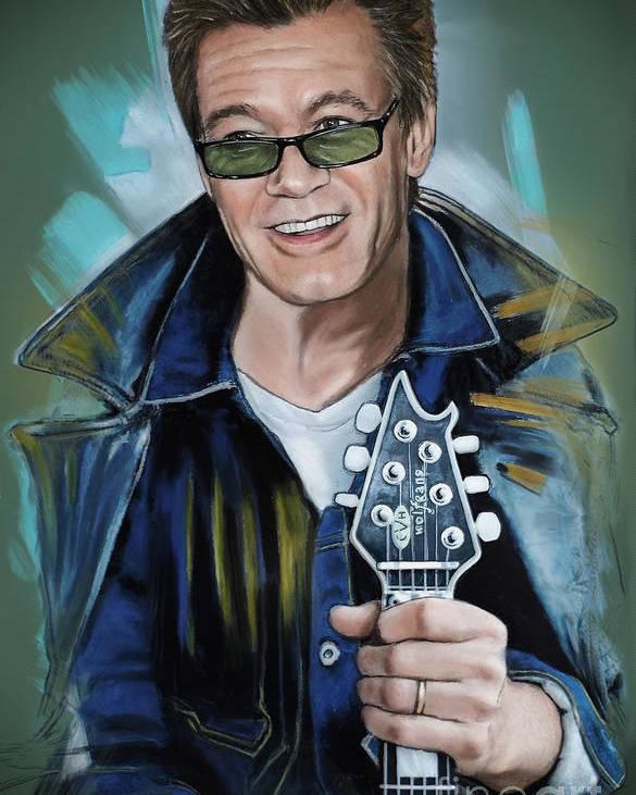 Van Halen Poster featuring the pastel Eddie Van Halen by Melanie D