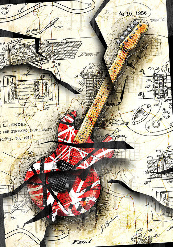 Guitar Poster featuring the digital art Eddie's Guitar by Gary Bodnar