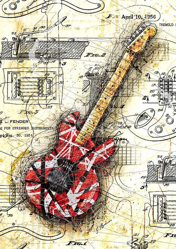 Eddie Van Halen Poster featuring the digital art Eddie's Guitar II by Gary Bodnar