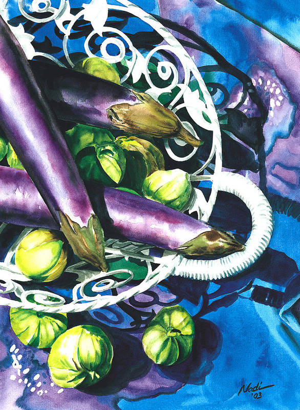 Food Poster featuring the painting Eggplants by Nadi Spencer