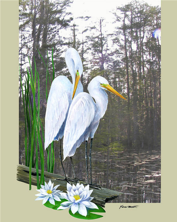 Egret Poster featuring the painting Egrets And Cypress Pond by Kevin Brant