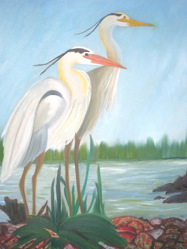 Animals Poster featuring the painting Egrets by AVK Arts