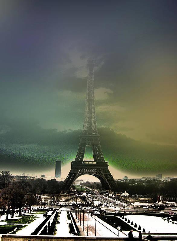 Hdr Poster featuring the photograph Eiffel Haze by Menucha Citron