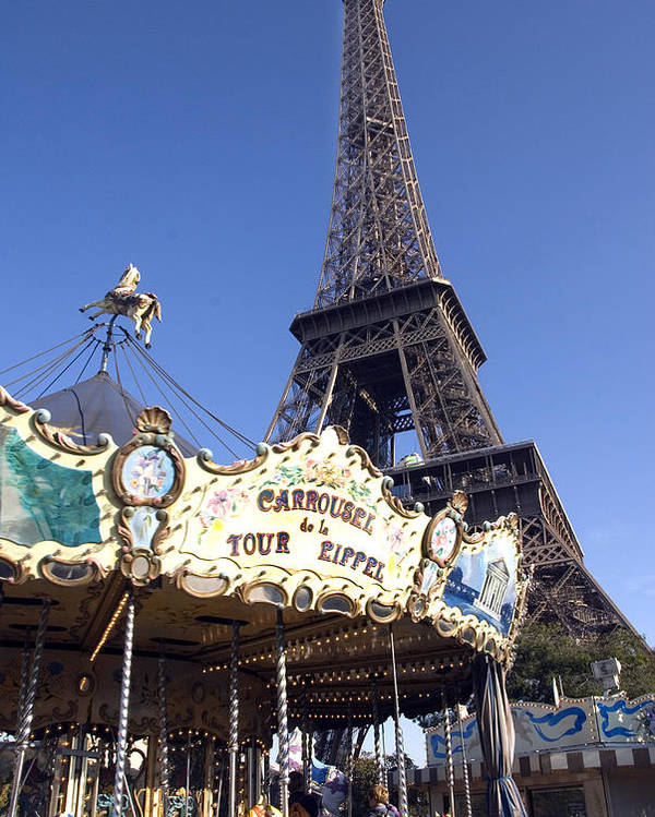 Eiffel Tower Poster featuring the photograph Eiffel Tower And Ancient Carousel by Charles Ridgway
