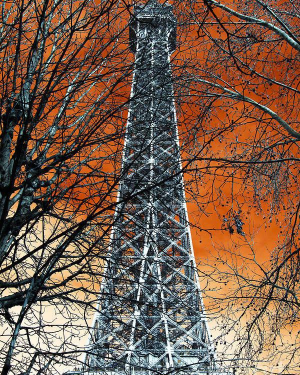 Eiffel Tower Behind The Trees Pop Art Poster featuring the photograph Eiffel Tower Behind The Trees Pop Art by John Rizzuto