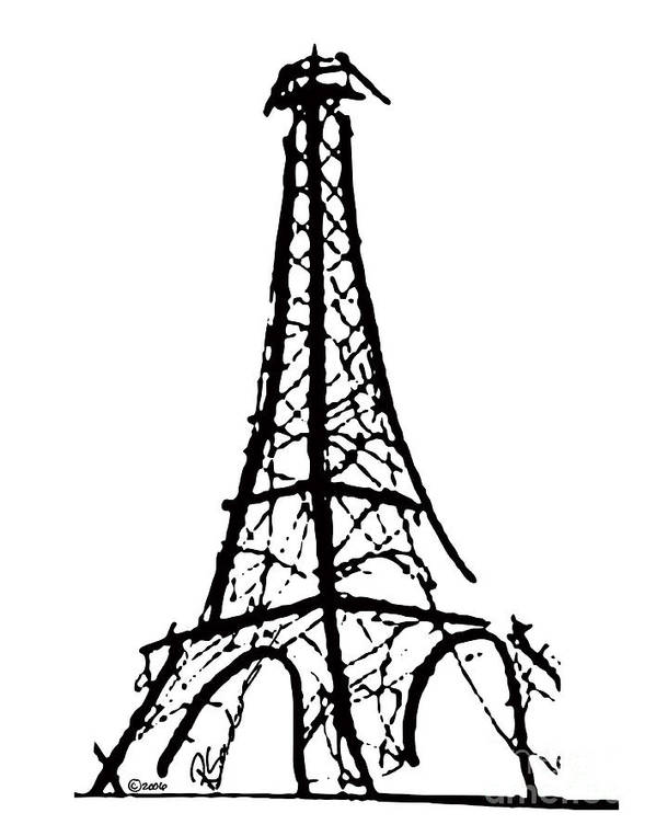Effel tower poster featuring the painting eiffel tower black and white by robyn saunders
