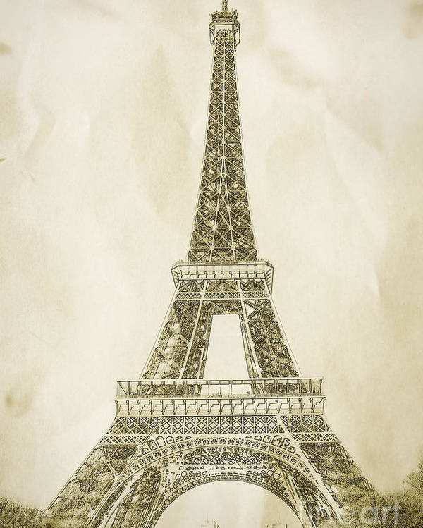 Eiffel Tower Poster featuring the drawing Eiffel Tower Illustration by Paul Topp