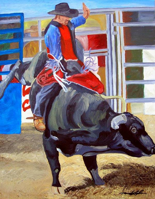 Bull Riding Poster featuring the painting Eight Long Seconds by Michael Lee