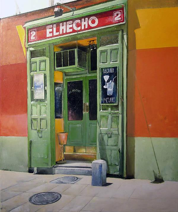Hecho Poster featuring the painting El Hecho Pub by Tomas Castano