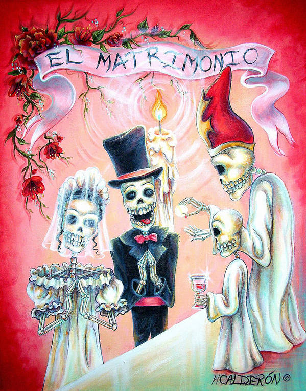 Day Of The Dead Poster featuring the painting El Matrimonio by Heather Calderon