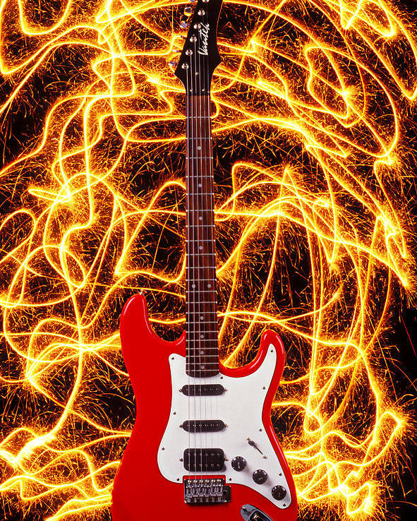 Electric Guitar Sparks Poster featuring the photograph Electric Guitar With Sparks by Garry Gay
