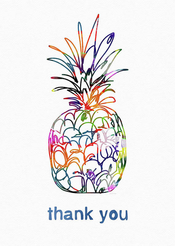 Pineapple Poster featuring the mixed media Electric Pineapple Thank You Card- Art By Linda Woods by Linda Woods