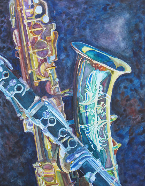 Sax Poster featuring the painting Electric Reeds by Jenny Armitage