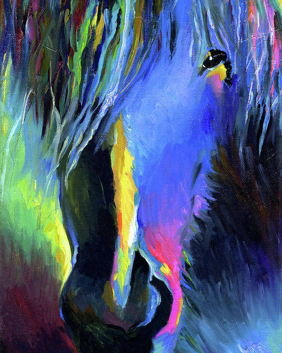 Vibrant Horse Painting Prints Poster featuring the painting electric Stallion horse painting by Svetlana Novikova