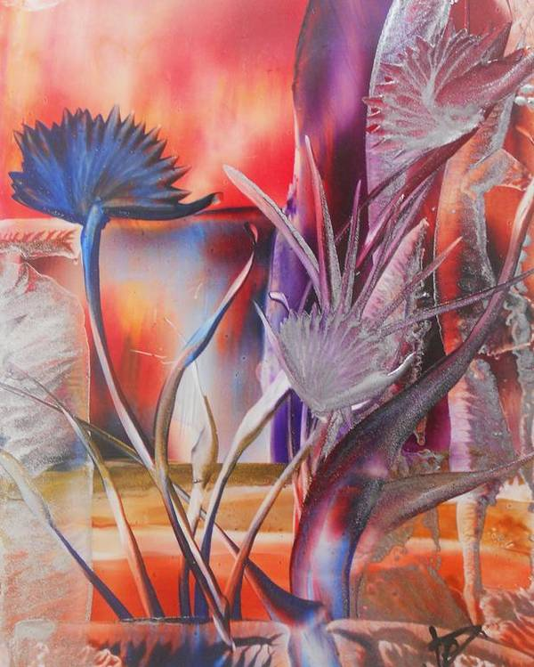 Abstract Floral Poster featuring the painting Elegant by John Vandebrooke