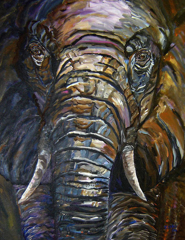 Elephant Poster featuring the painting Elephant Faces Of Nature Series by Mary Jo Zorad