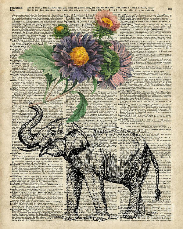 Elephant Poster featuring the digital art Elephant With Flowers by Anna W