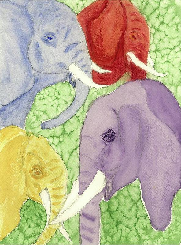 Animals Poster featuring the painting Elephants In The Room by Joan Zepf
