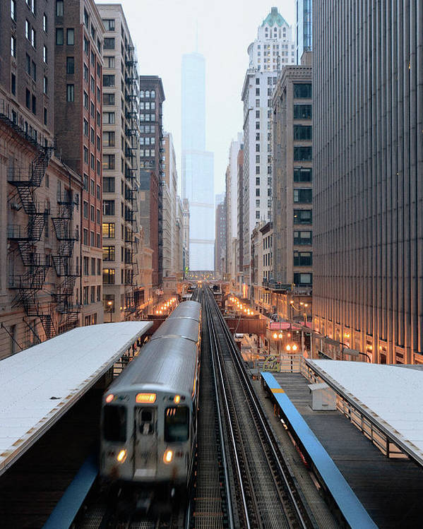 Vertical Poster featuring the photograph Elevated Commuter Train In Chicago Loop by Photo by John Crouch