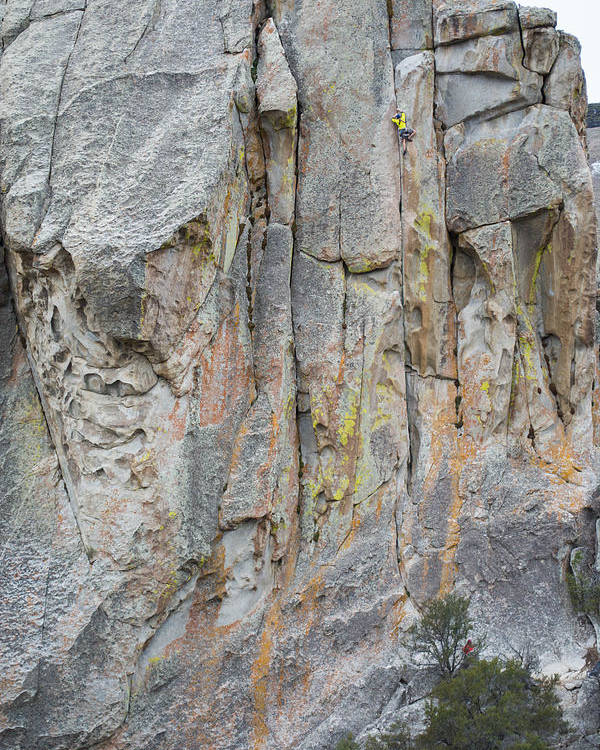 5.10a Poster featuring the photograph Elijah Weber Climbs A Route Called Thin Slice by Elijah Weber