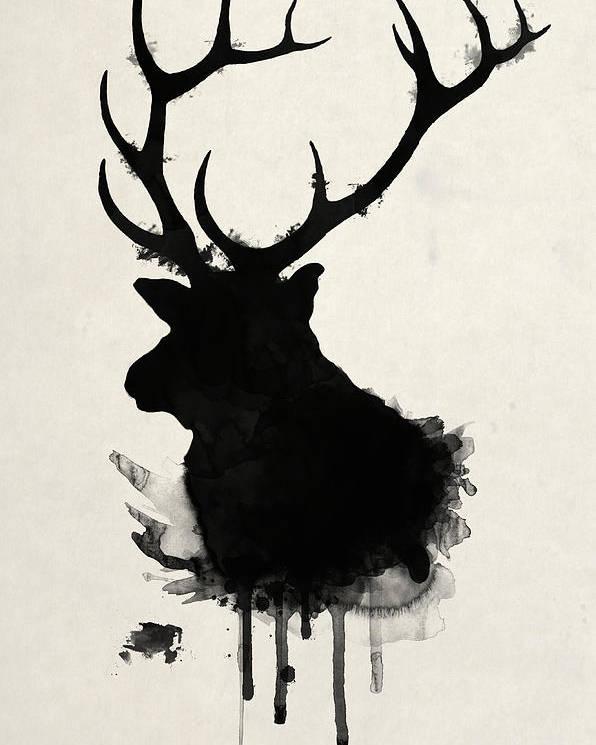 dedae5709c7 Elk Poster featuring the drawing Elk by Nicklas Gustafsson