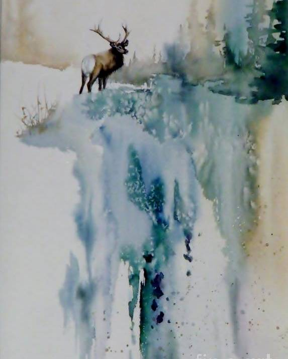 Bull Elk On Top Of Mountain Poster featuring the painting Elk On Top by Lynne Parker
