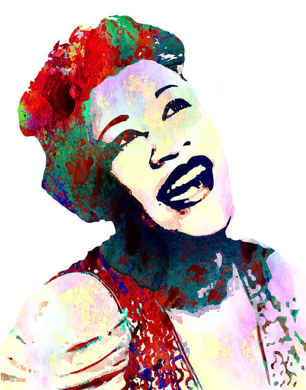 Louis Armstrong Poster featuring the digital art Ella Fitzgerald by Elena Kosvincheva