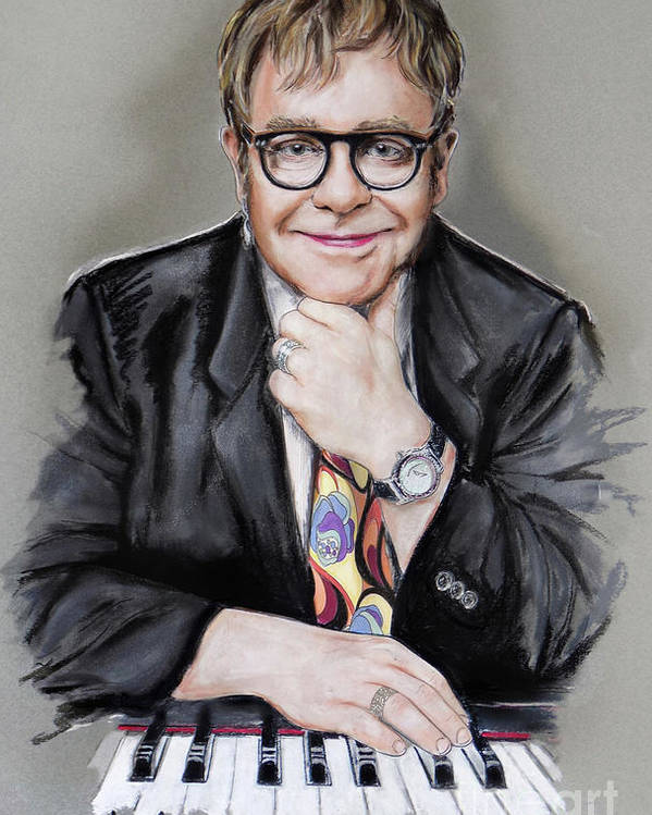 Elton John Poster featuring the mixed media Elton John by Melanie D